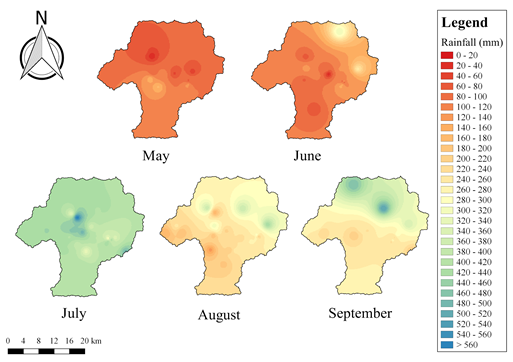 Figure 2: Monthly cumulative rainfall distribution in the Kathmandu Valley for monsoon 2019.